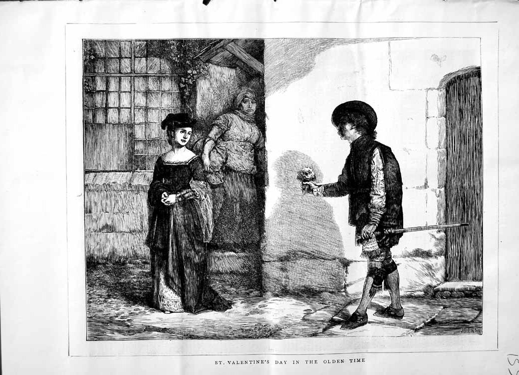 [Print 1871 Scene St. Valetine'S Day Olden Time Romance 153M103 Old Original]