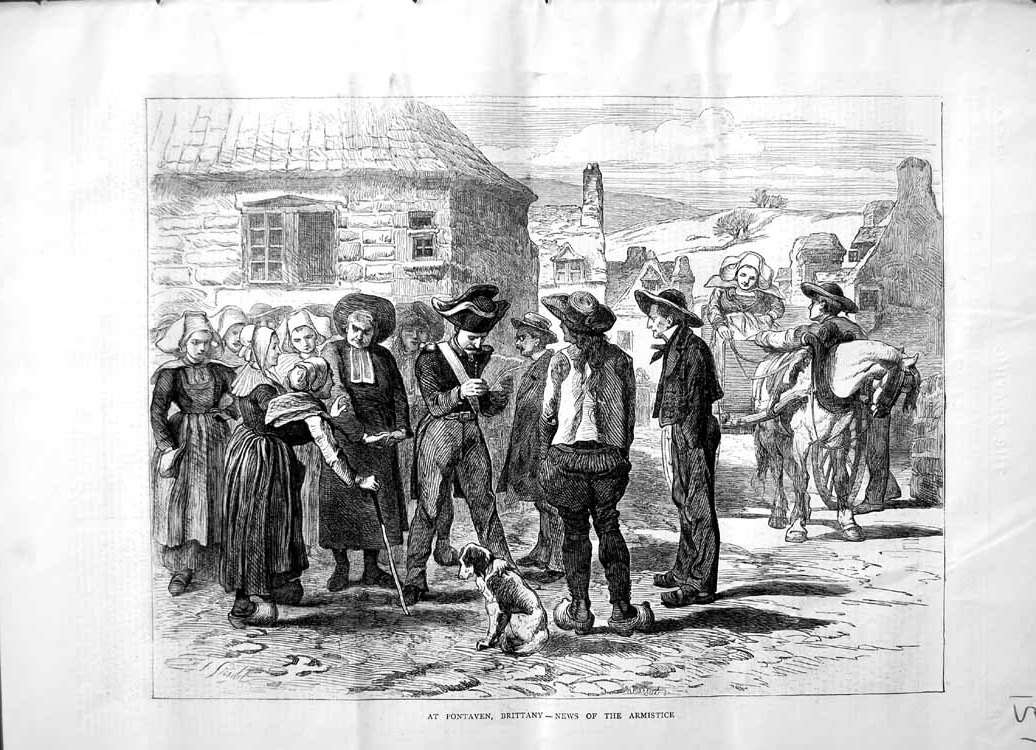 [Print 1871 Pontaven Brittany France Armistice War People 157M103 Old Original]