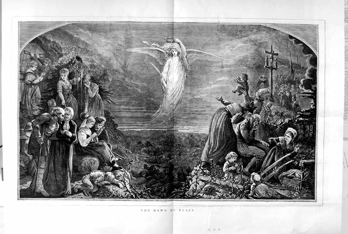 [Print 1871 Scene Dawn Peace Angel People Children 175Tm103 Old Original]