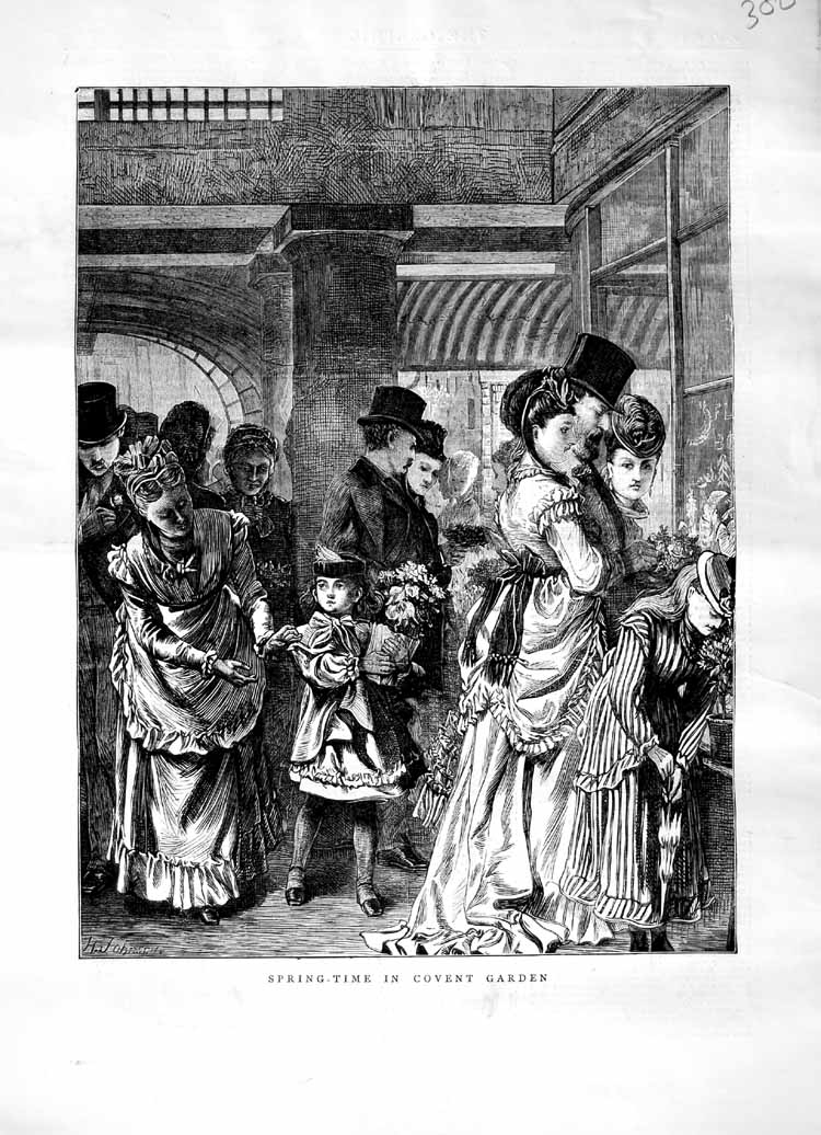 [Print 1871 Spring-Time Covent Garden London People 300M103 Old Original]