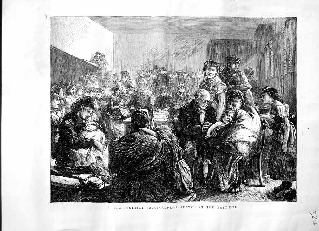 [Print 1871 District Vaccinator London Doctor Injections 324M103 Old Original]