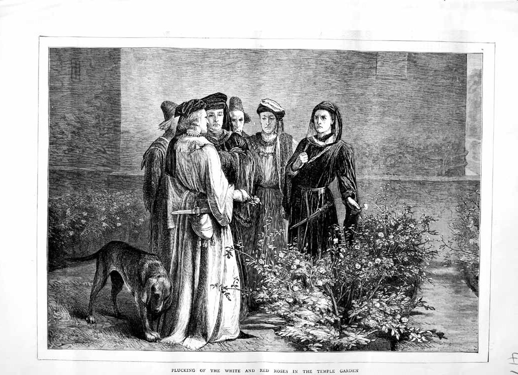 [Print 1871 Picking White Red Roses Temple Garden Flowers Dog 417M103 Old Original]