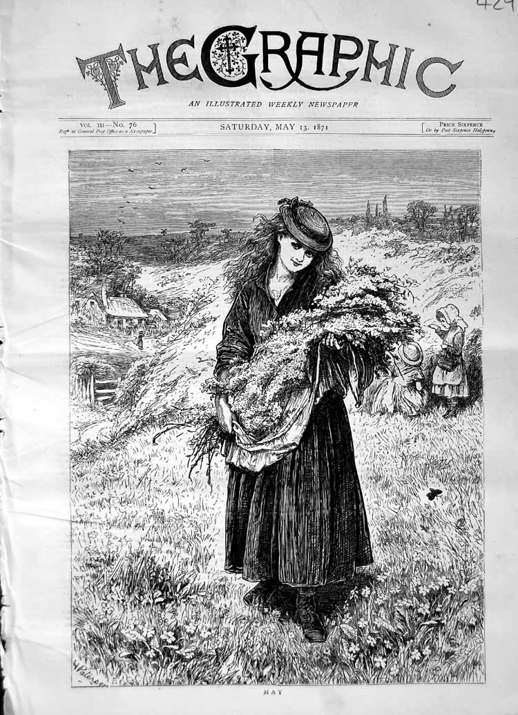 [Print 1871 Scene May Gathering Flowers Children Butterfly 429M103 Old Original]