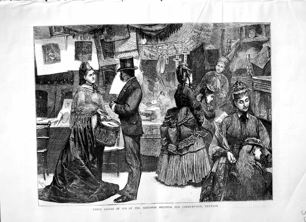 [Print 1871 Fancy Bazaar National Hospital Consumption Vienna 505M103 Old Original]