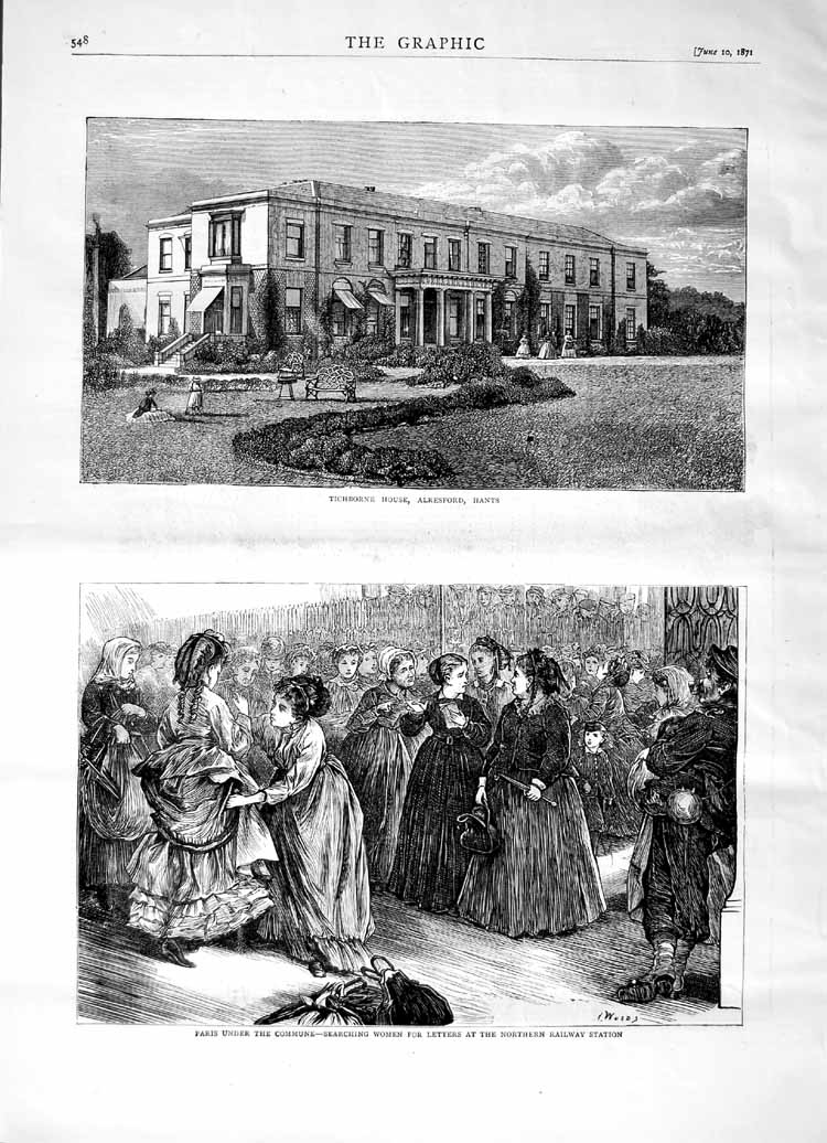 [Print 1871 Tichborne House Alresford Hants Paris Commune 548M103 Old Original]