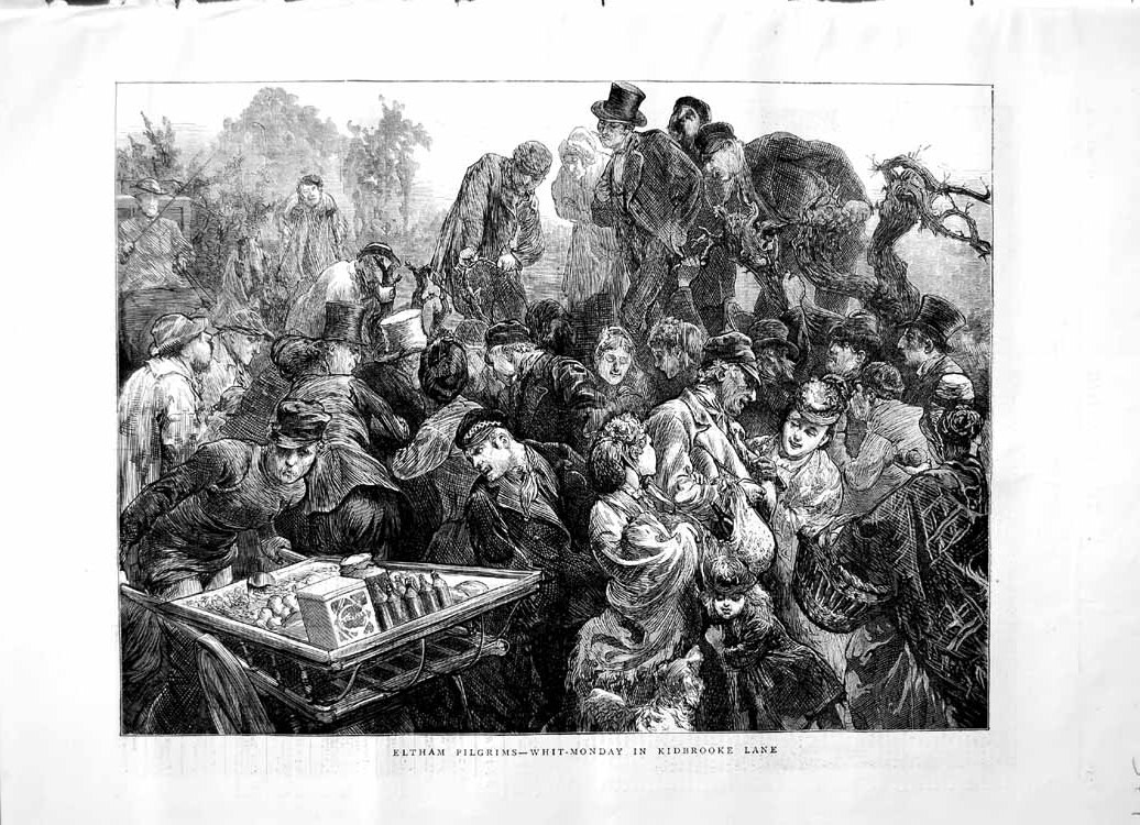 [Print 1871 Eltham Pilgrims Whit-Monday Kidbrooke Lane People Old Original]