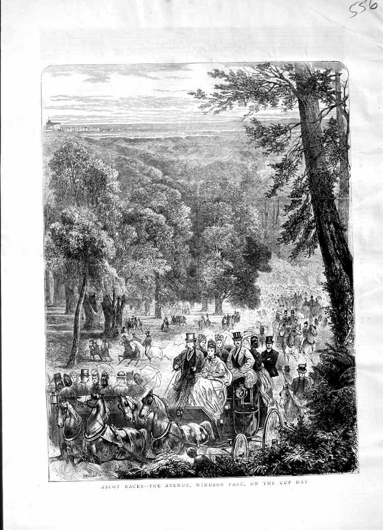 [Print 1871 Ascot Horse Racing Windsor Park Sport Carriage 556M103 Old Original]