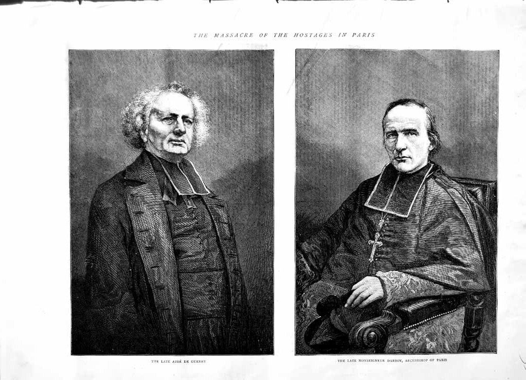 [Print 1871 Abbe De Guerry Monseigneur Darboy Archbishop Paris 557M103 Old Original]