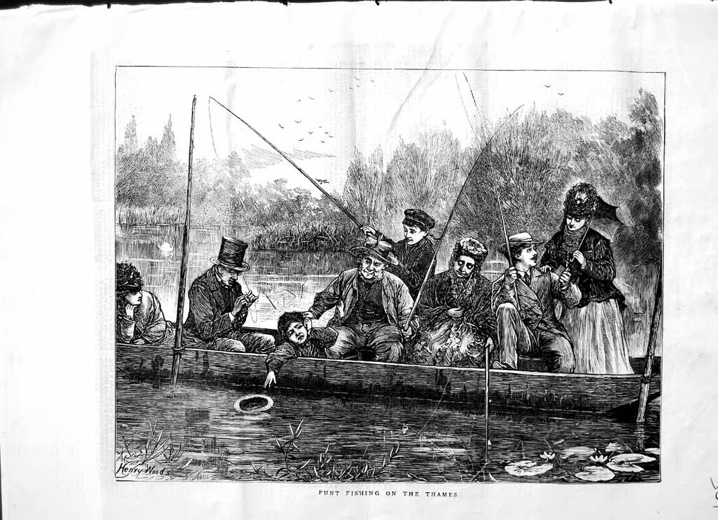 [Print 1871 Punt Boat Fishing River Thames London Henry Woods 561M103 Old Original]