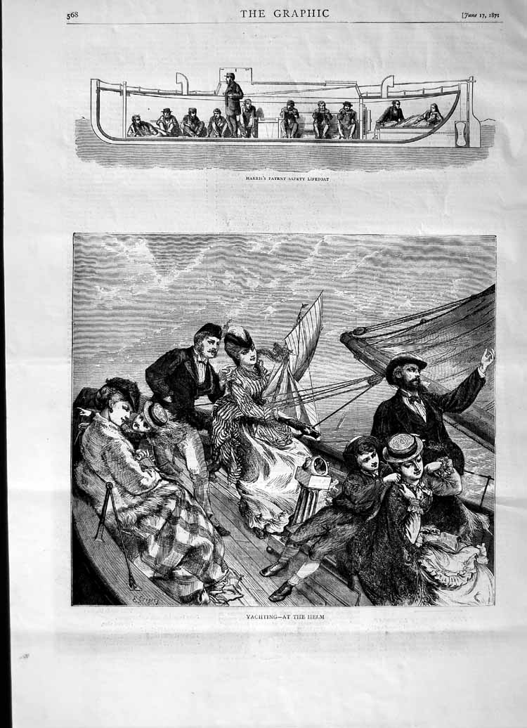 [Print 1871 Yachting Helm Boat Harris Patent Safety Lifeboat 568M103 Old Original]