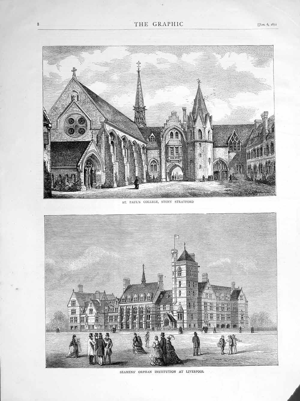 [Print 1872 St.Paul'S College Stony Seaman Liverpool Orphanage 008M105 Old Original]