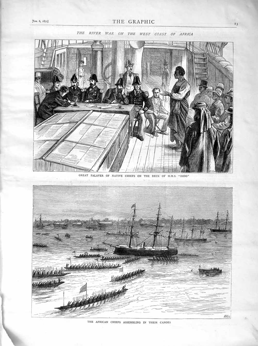 [Print 1872 Native Chiefs Ship H.M.S Dido African Canoes 013M105 Old Original]