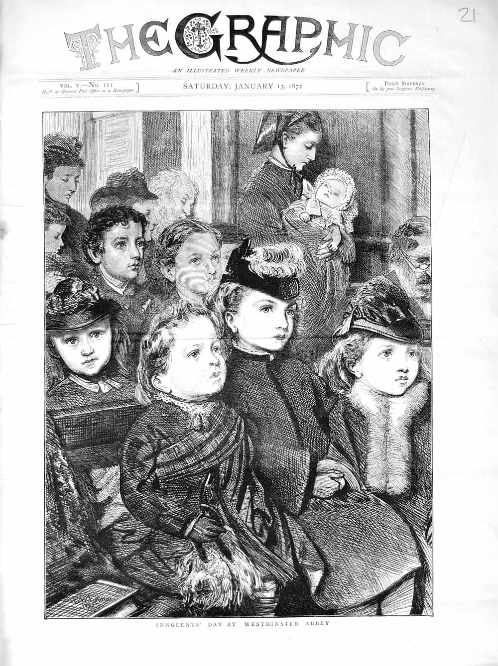 [Print 1872 Innocents Day Westminster Abbey London Children 021M105 Old Original]