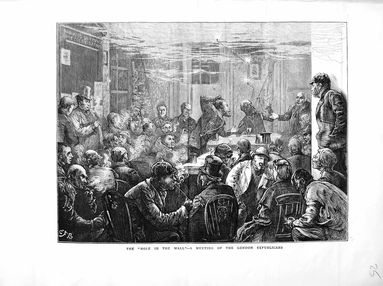 [Print 1872 Meeting London Republicans Men Tables Chairs 025M105 Old Original]