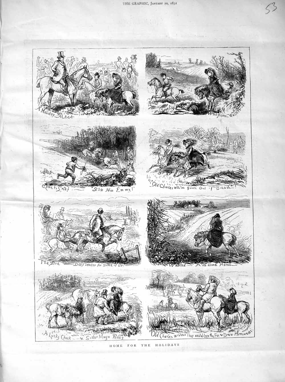 [Print 1872 Country Holidays Horses Hunting Sport Jumping 053M105 Old Original]