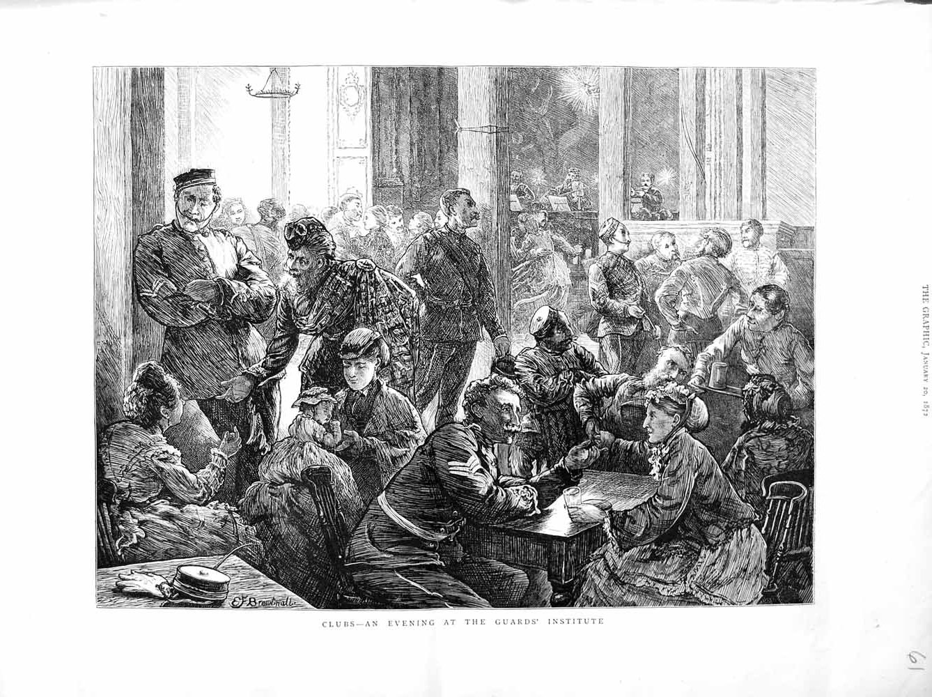 [Print 1872 Clubs Guards Institute Men Women Soldiers 061M105 Old Original]
