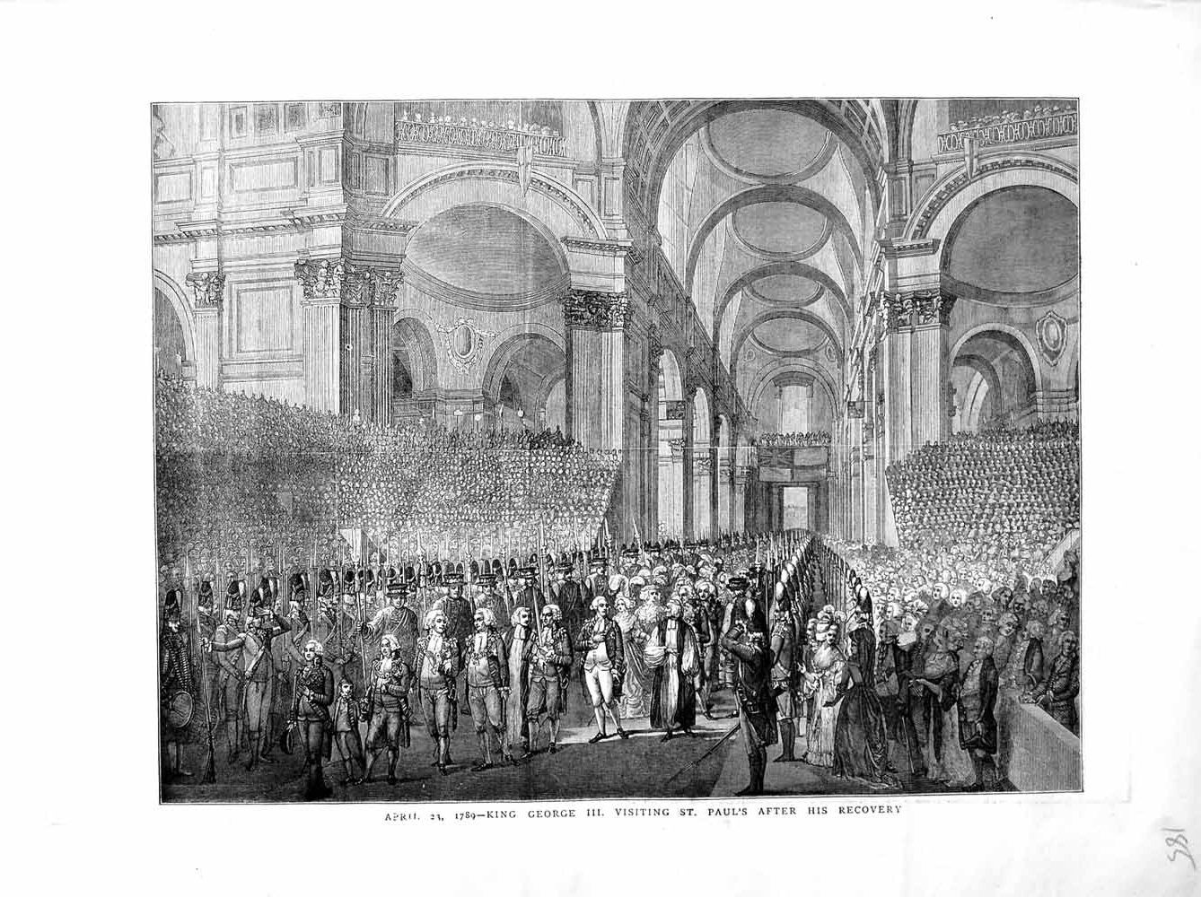 [Print 1872 King George Iii Visiting St. Paul'S Cathedral 185M105 Old Original]