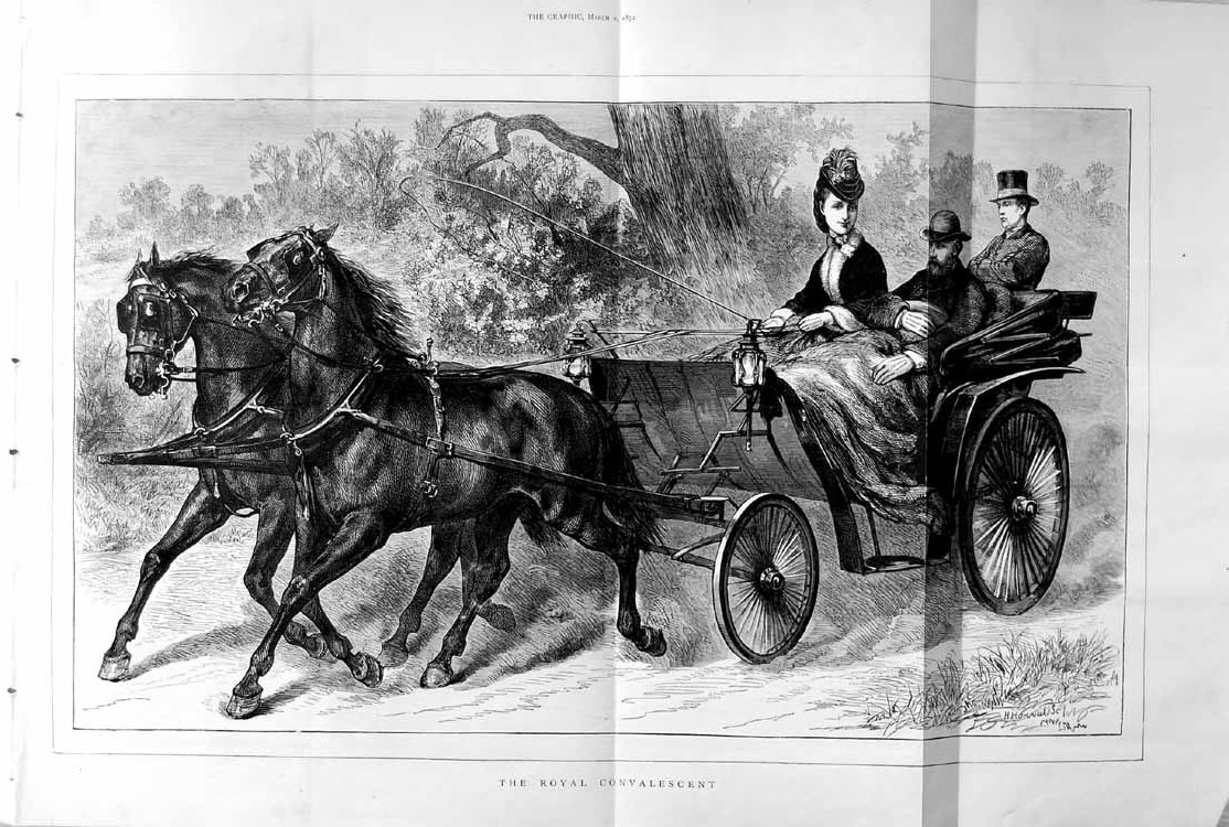 [Print 1872 Royal Convalescent Horses Carriage Country 199Tm105 Old Original]