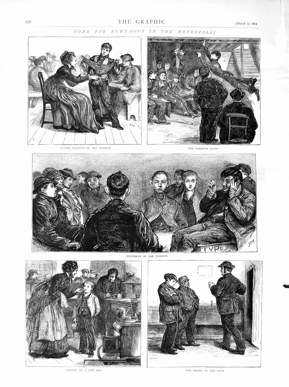 [Print 1872 Home News-Boys Metropolis Children Matron 276M105 Old Original]