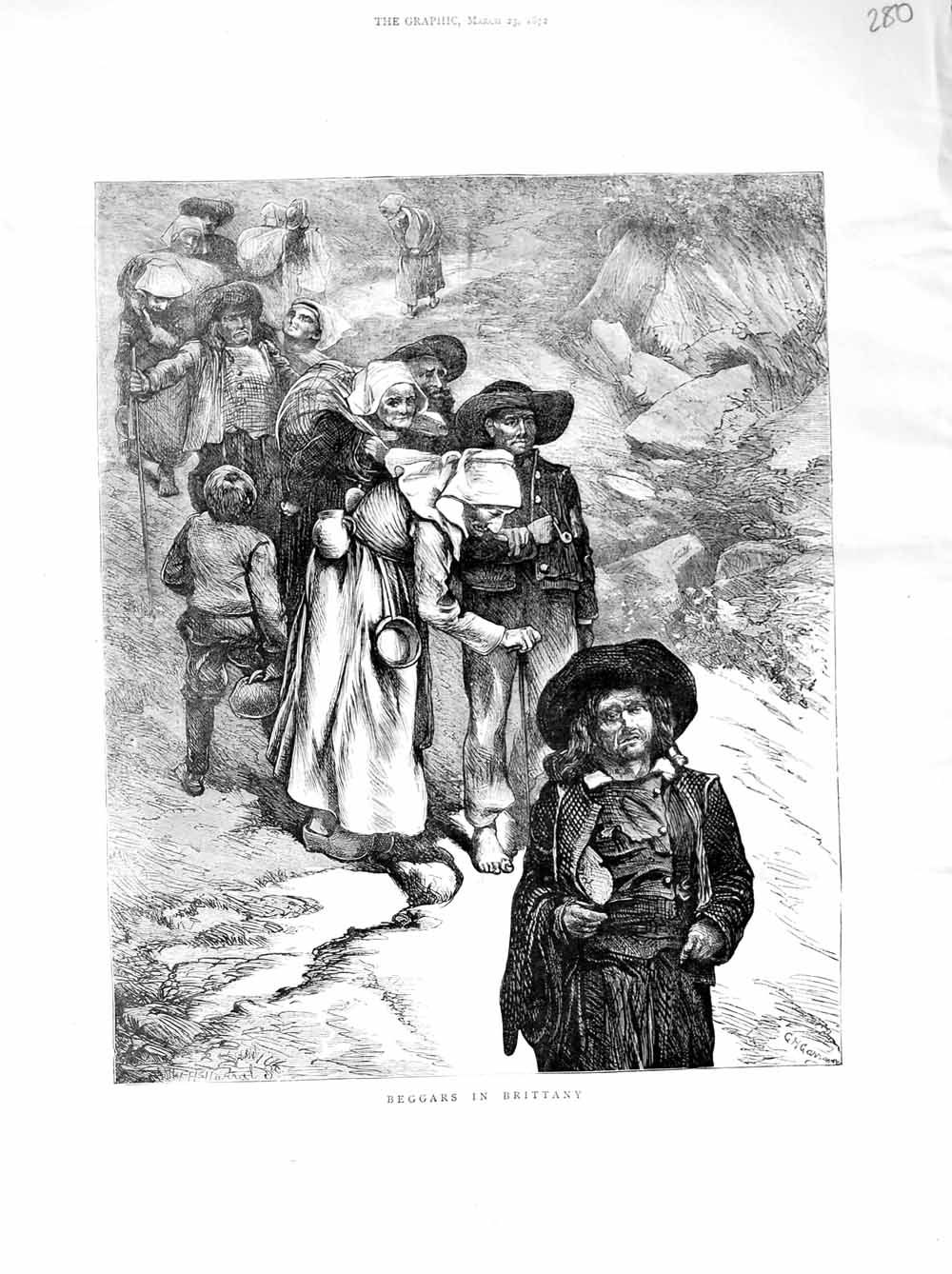 [Print 1872 Scene Beggars Brittany France Poor People 280M105 Old Original]