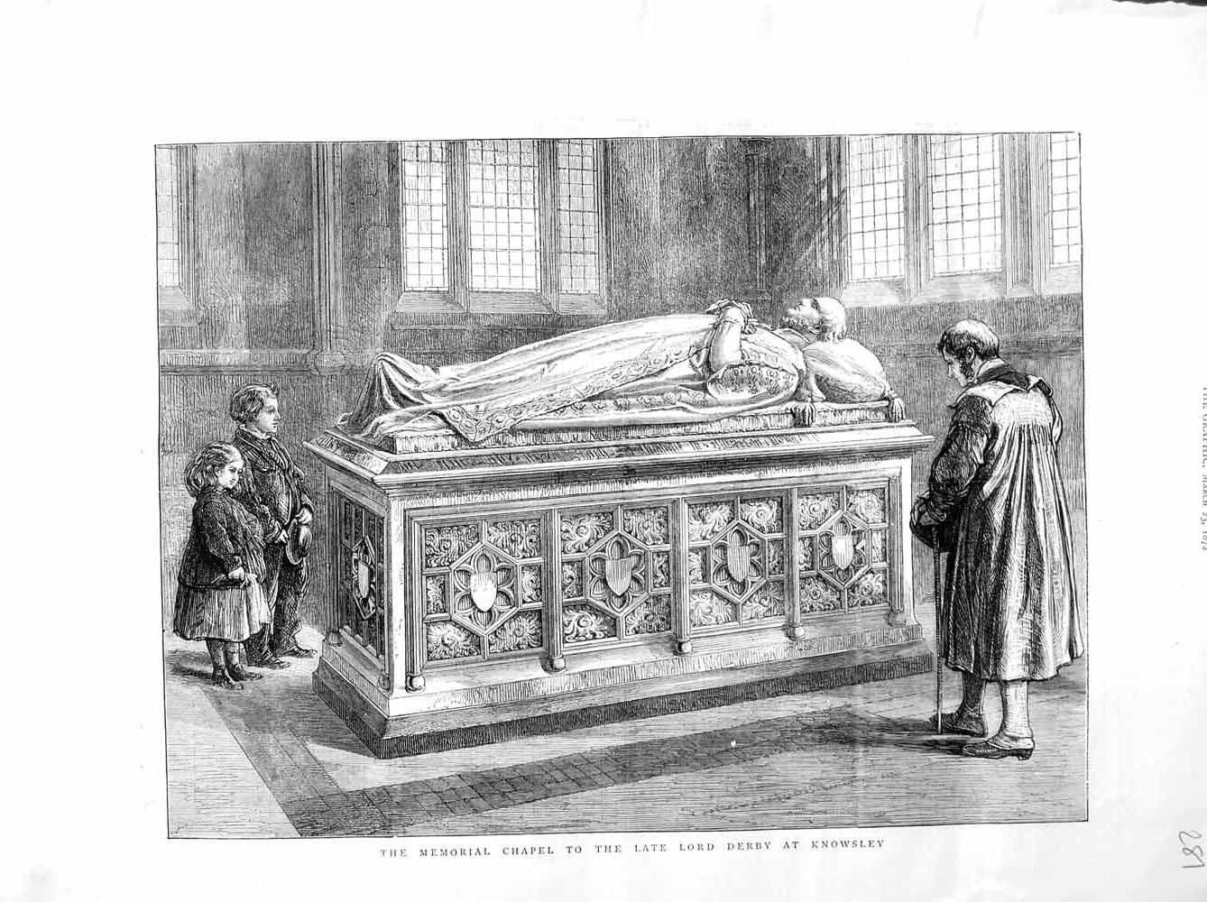 [Print 1872 Memorial Chapel Lord Derby Knowsley Tomb Children 281M105 Old Original]