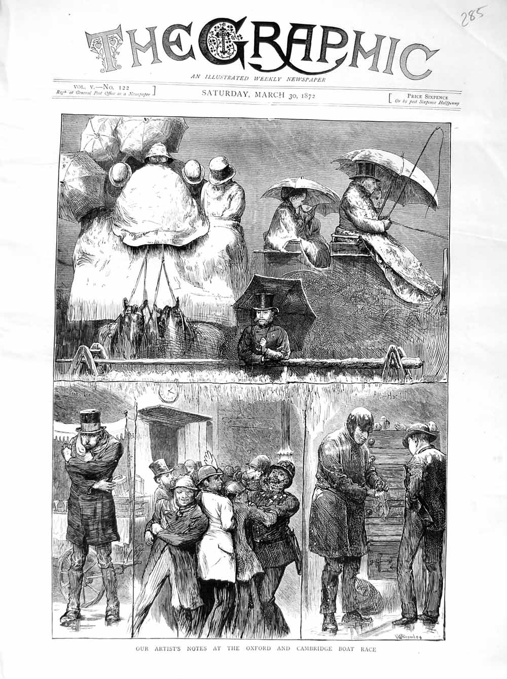 [Print 1872 Oxford Cambridge Boat Race Sport Police Snow 285M105 Old Original]