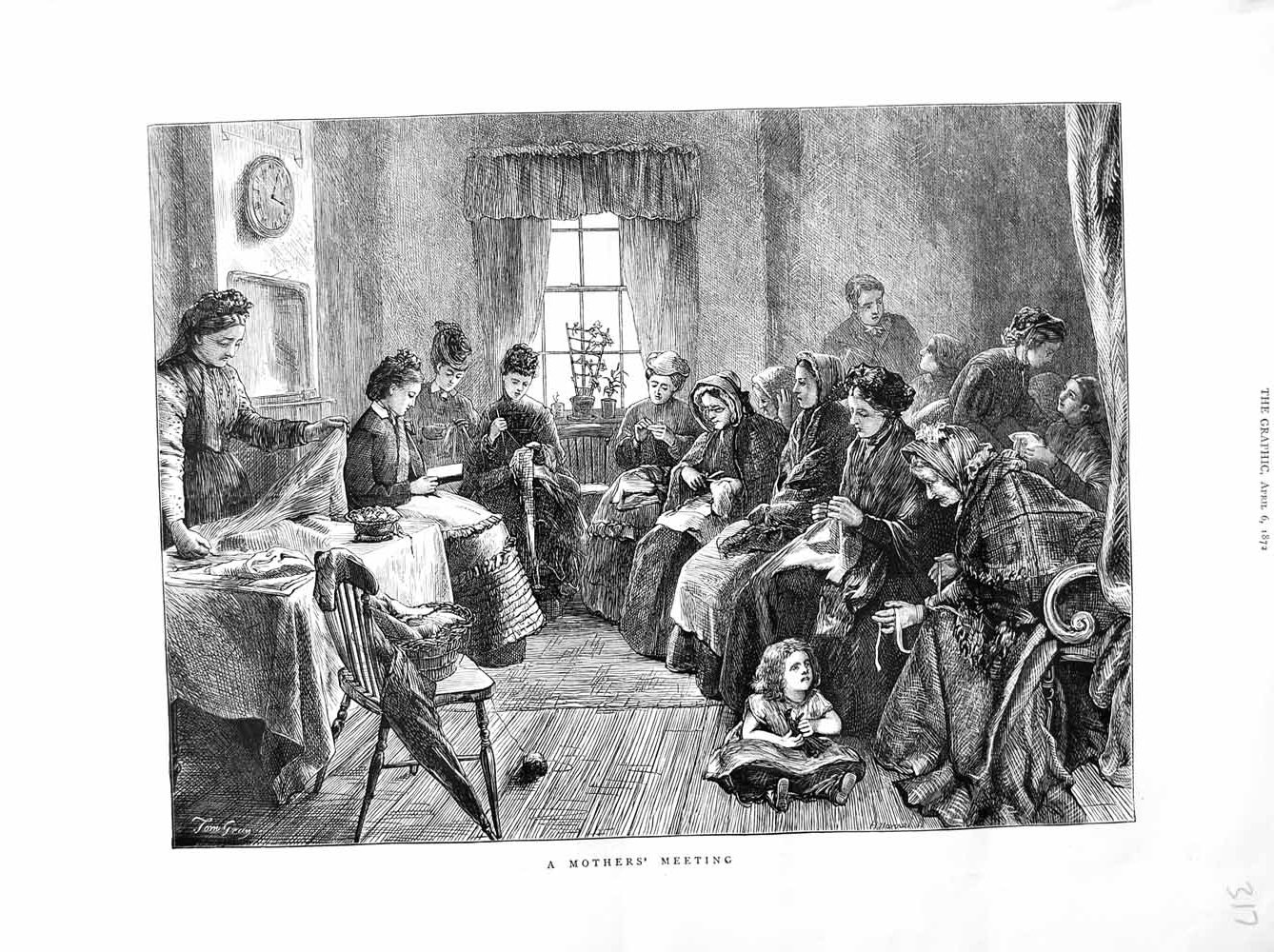 [Print 1872 Sketch Mothers Meeting Children Knitting 317M105 Old Original]