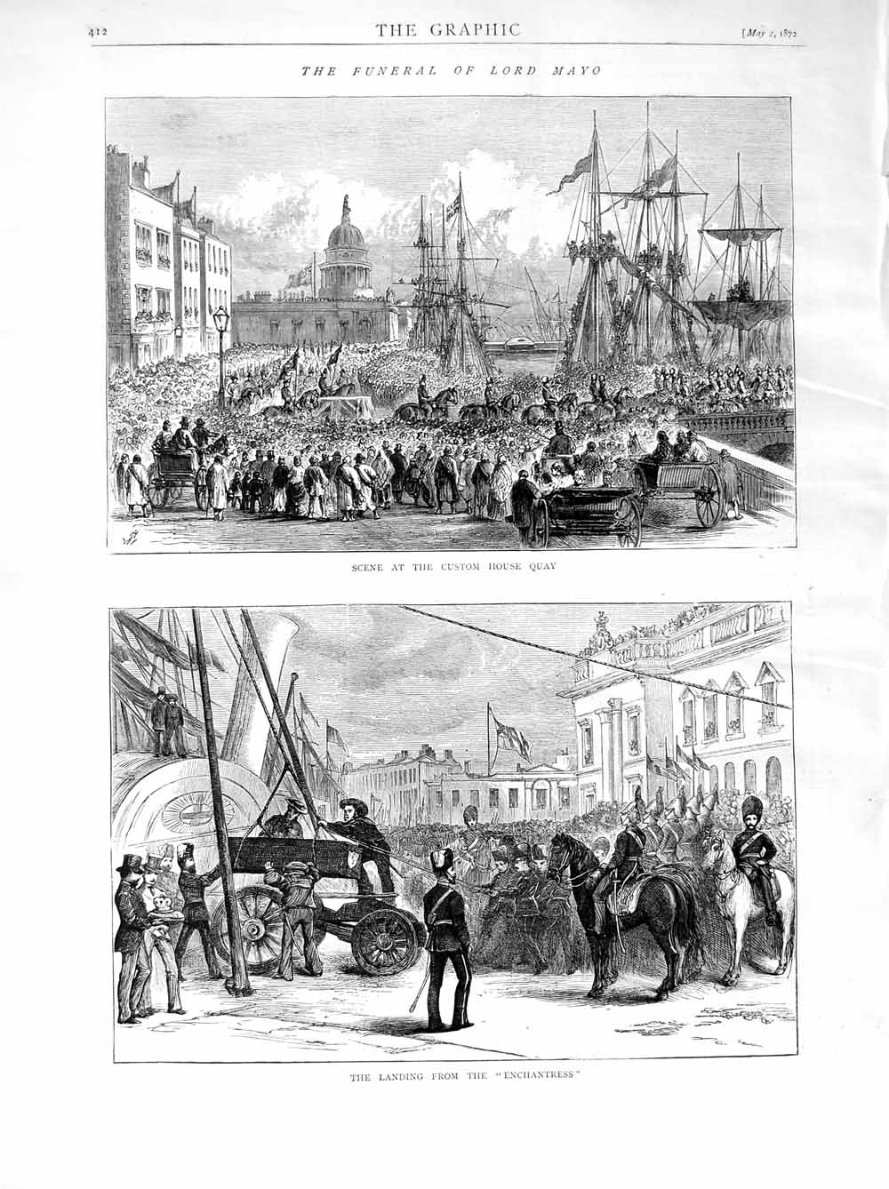 [Print 1872 Funeral Lord Mayo Custom House Quay Ships 412M105 Old Original]