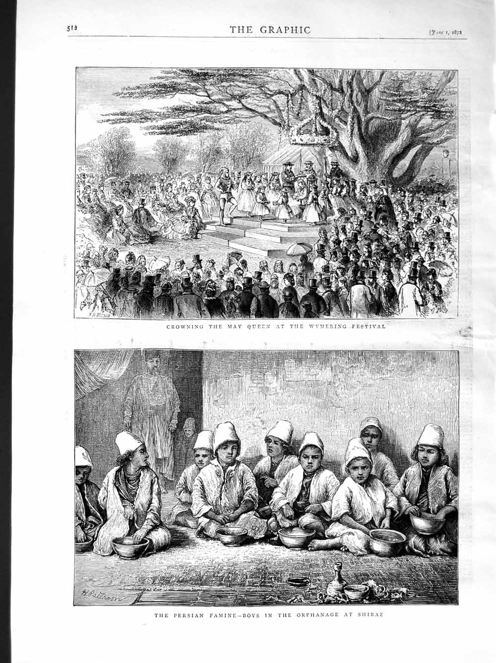[Print 1872 May Queen Wymering Festival Persian Famine Shiraz 512M105 Old Original]