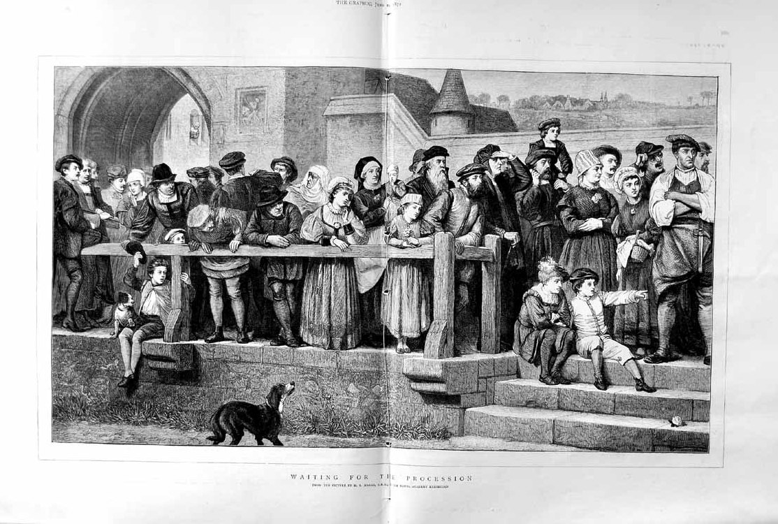 [Print 1872 Scene People Street Procession Dogs Children Marks 591Tm105 Old Original]