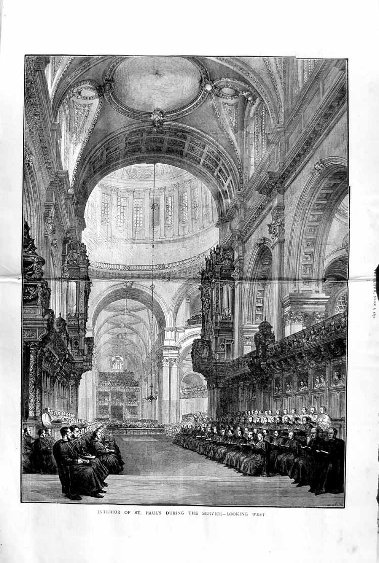 [Print 1872 Interior St. Paul'S Cathedral Service Architecture 709Tm105 Old Original]