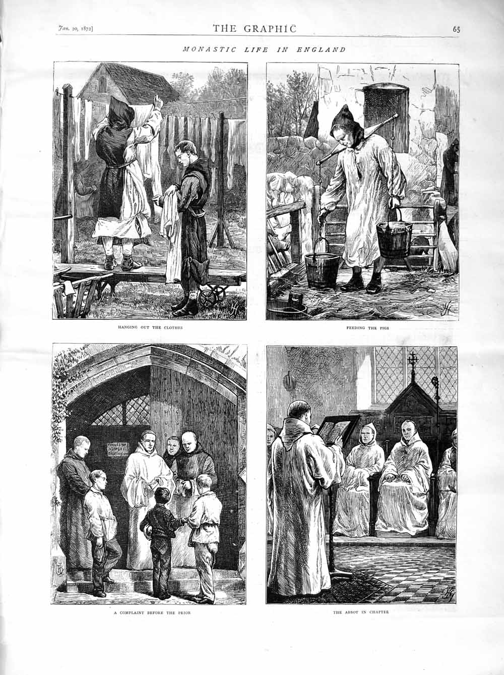 Print 1872 Monastery England Abbot Pigs Monks Prior  Old Original