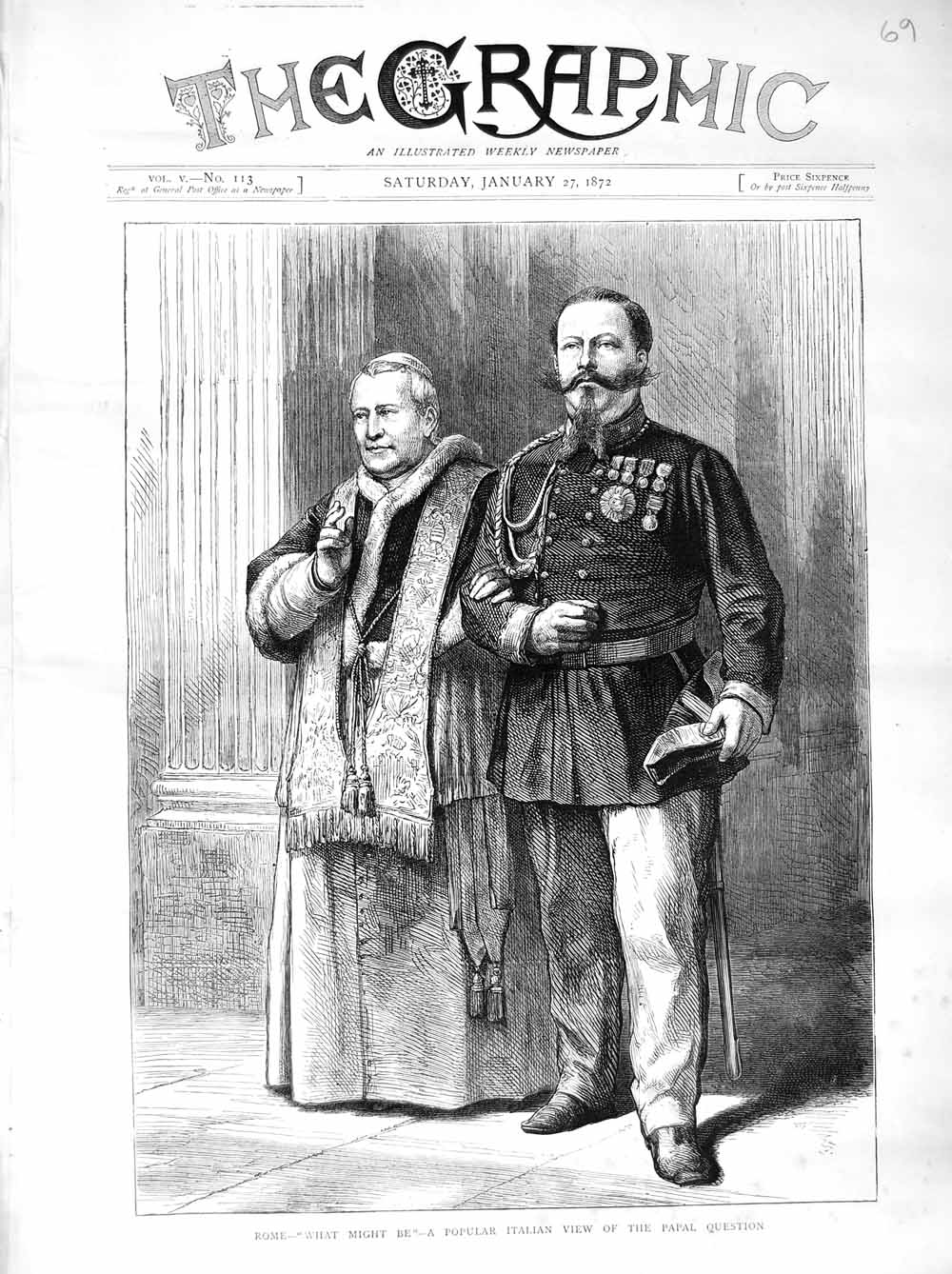 [Print 1872 Rome Pope Italian Papal Question Uniforms  Old Original]