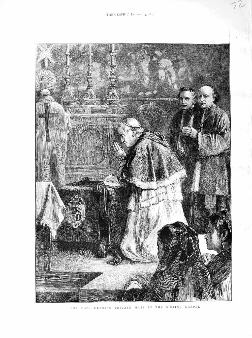 Print 1872 Pope Hearing Private Mass Sistine Chapel Italy  Old Original
