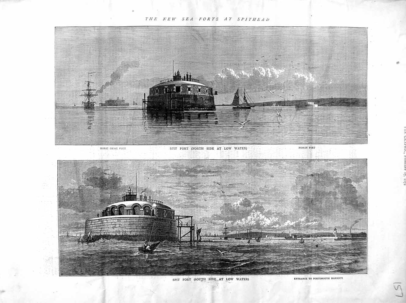 Print 1872 Sea Fort Spithead Spit Shoal Noman Portsmouth  Old Original