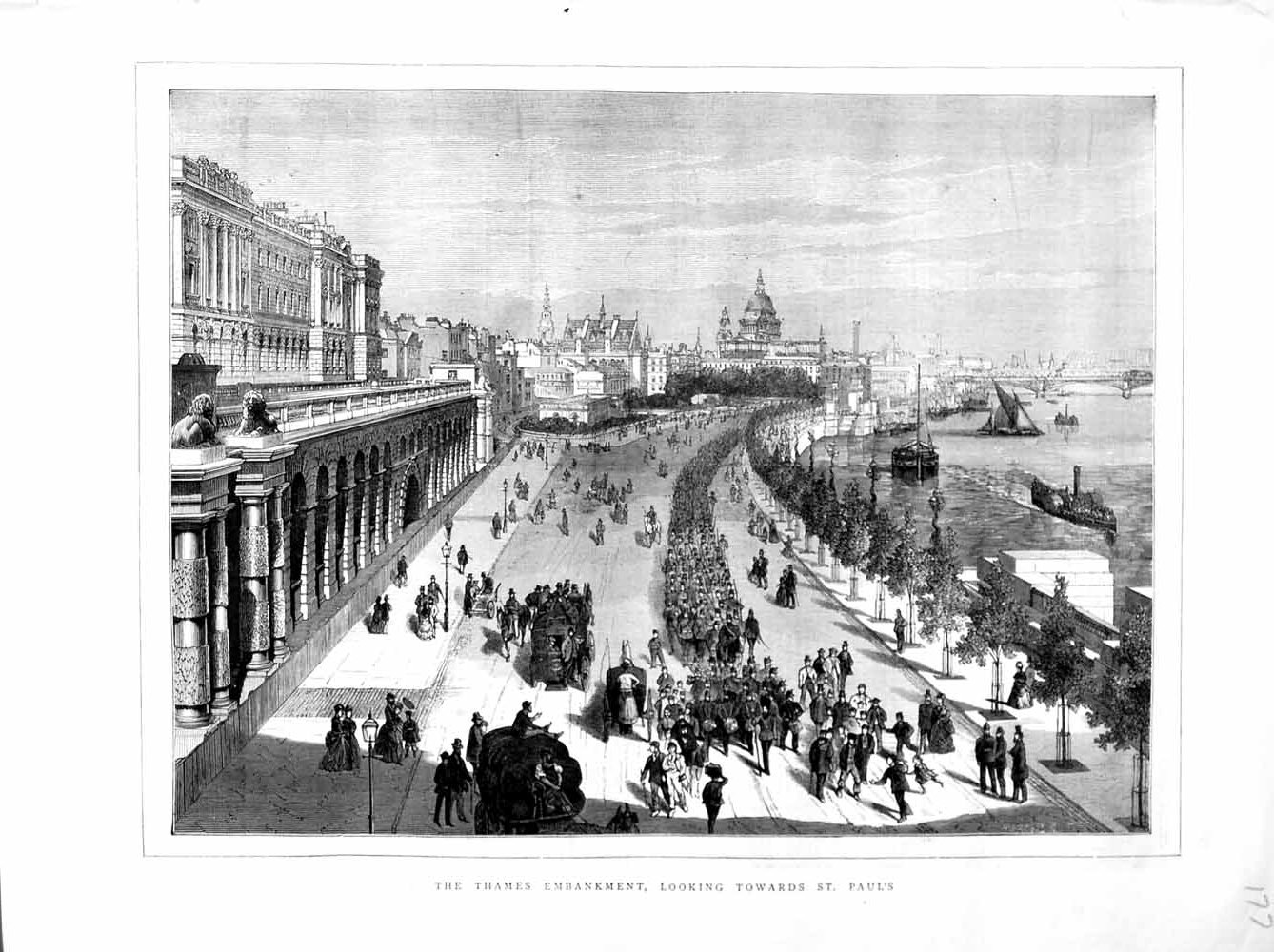 [Print 1872 River Thames Embankment London Paul'S Cathedral Old Original]