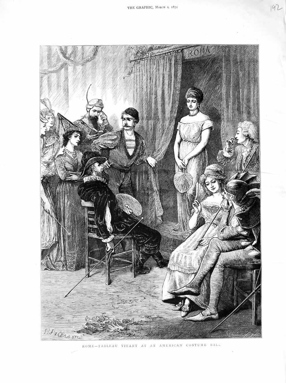 [Print 1872 Rome Italy Tableau Vivant American Costume Ball Old Original]