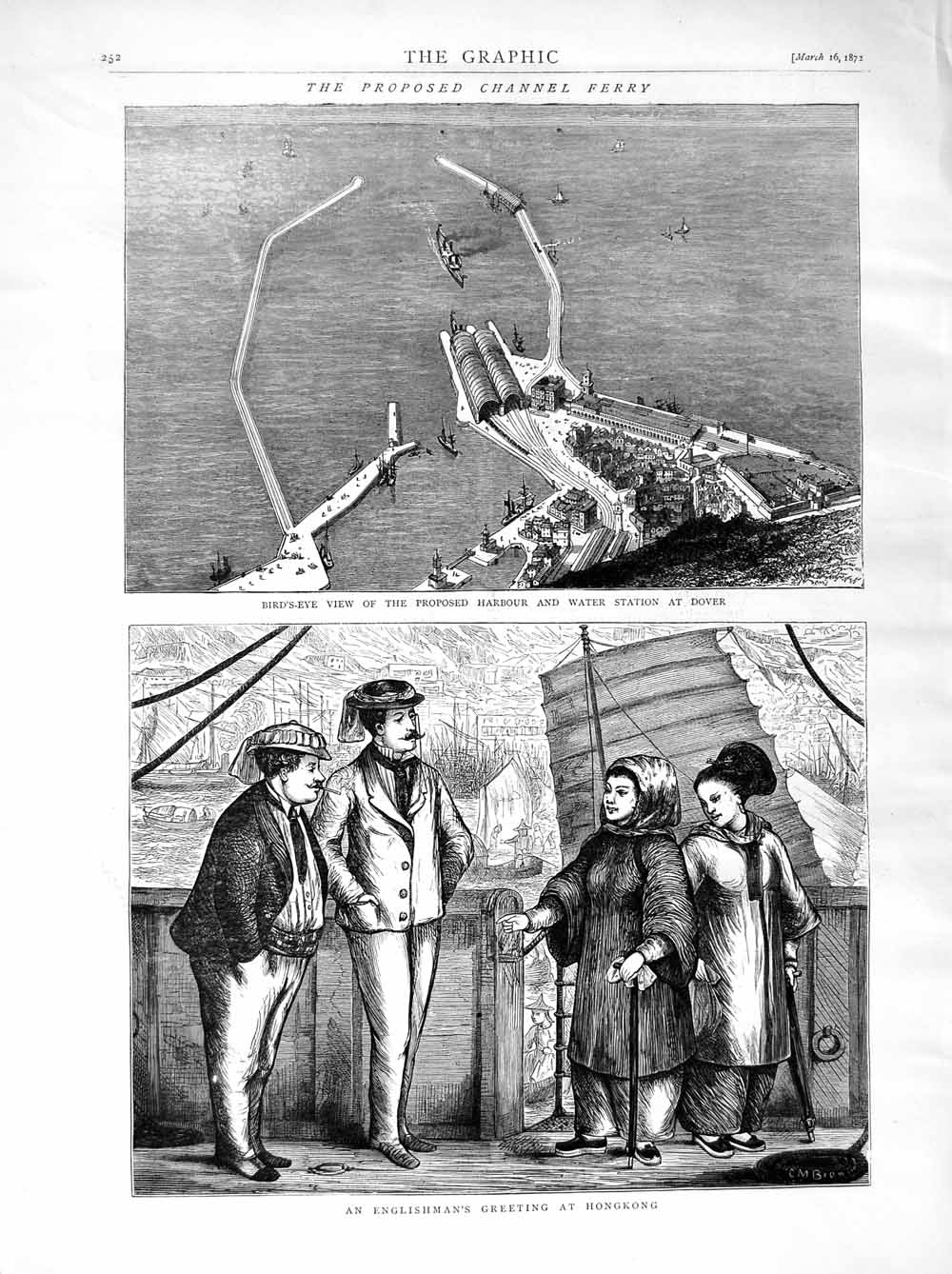 Print 1872 Harbour Dover Channel Ferry Hongkong English Men  Old Original