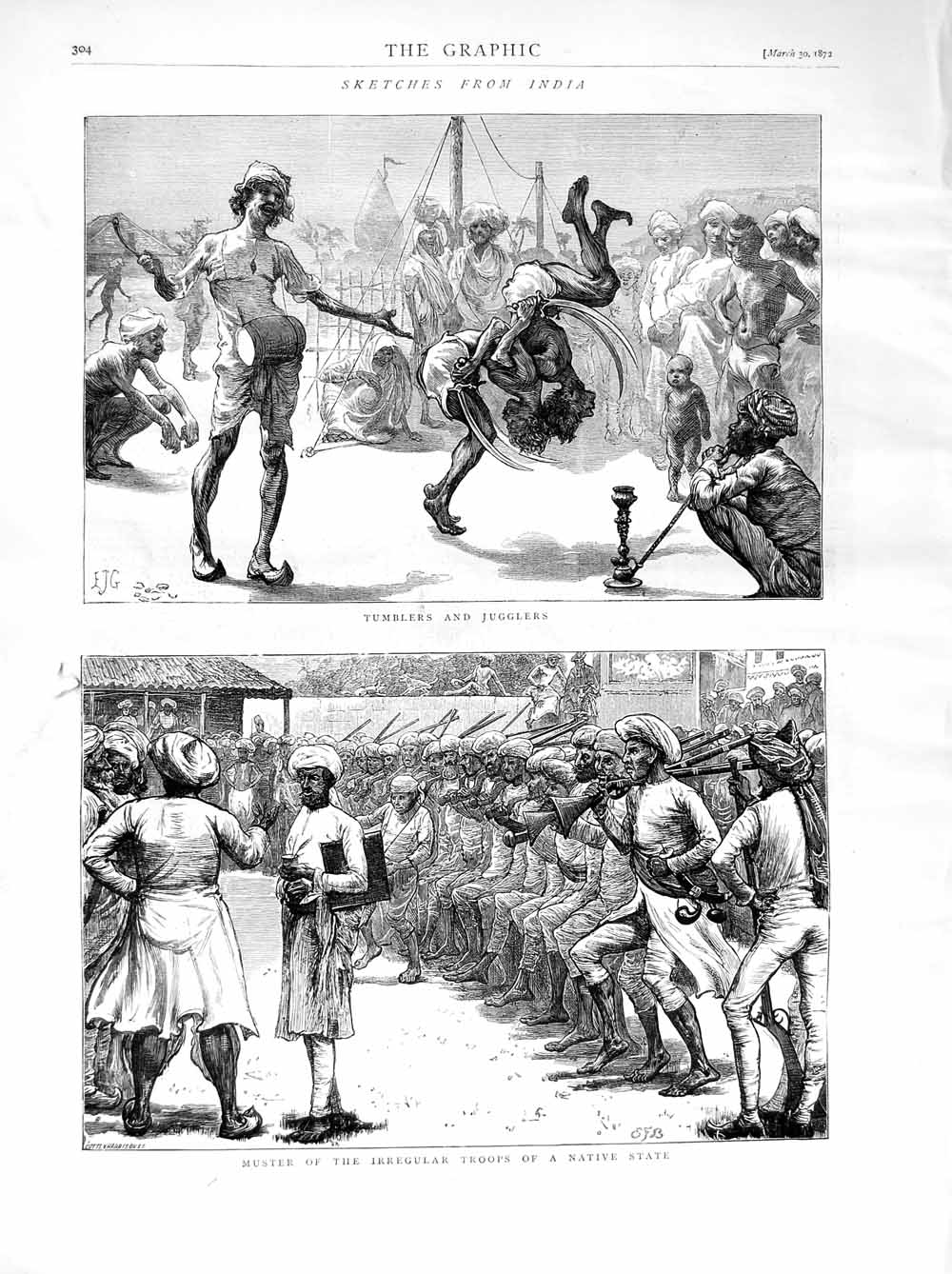 [Print 1872 India Irregular Troops Natives Sport Jugglers  Old Original]