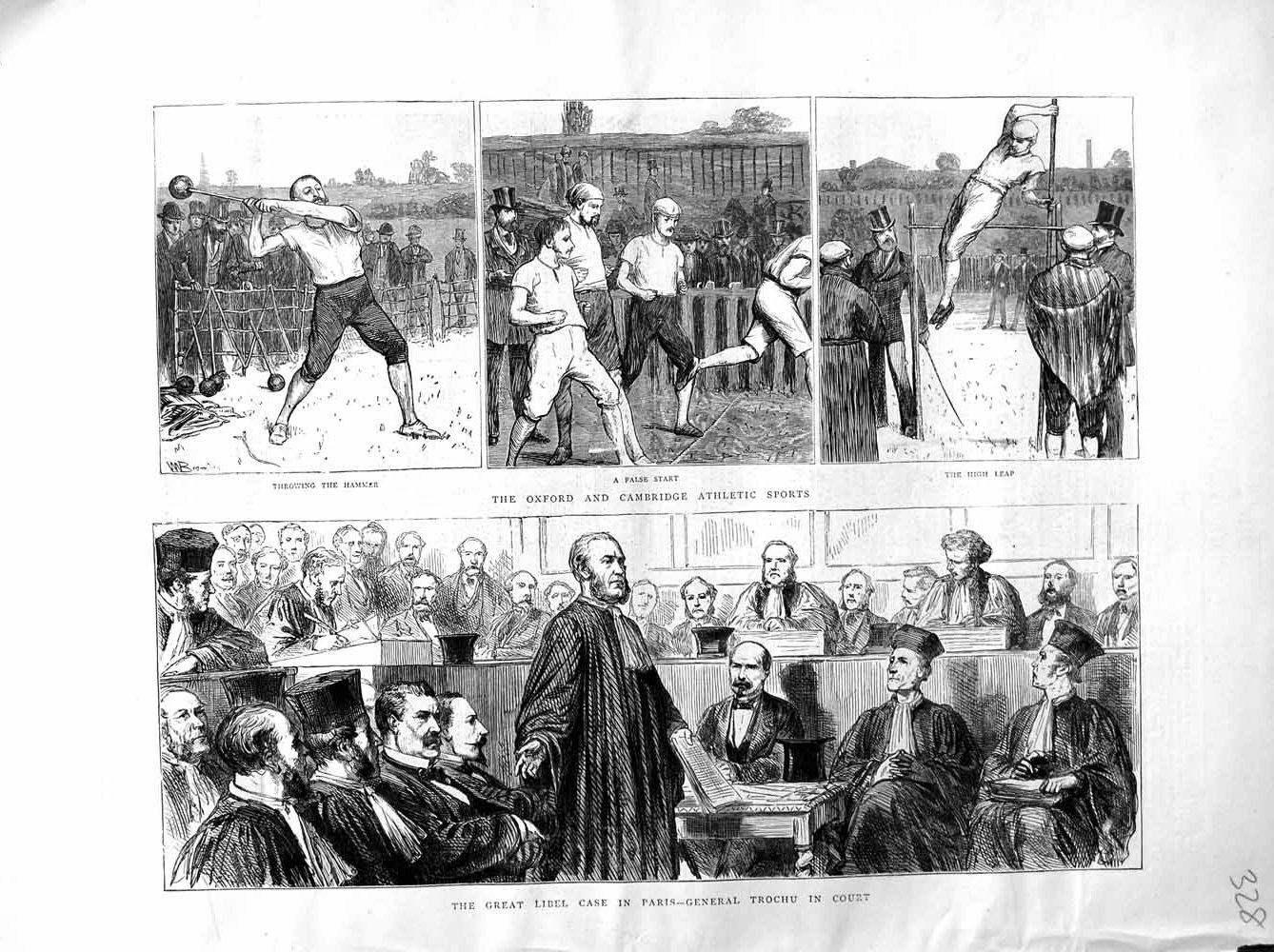 Print 1872 Oxford Cambridge University Sport Paris Trochu  Old Original