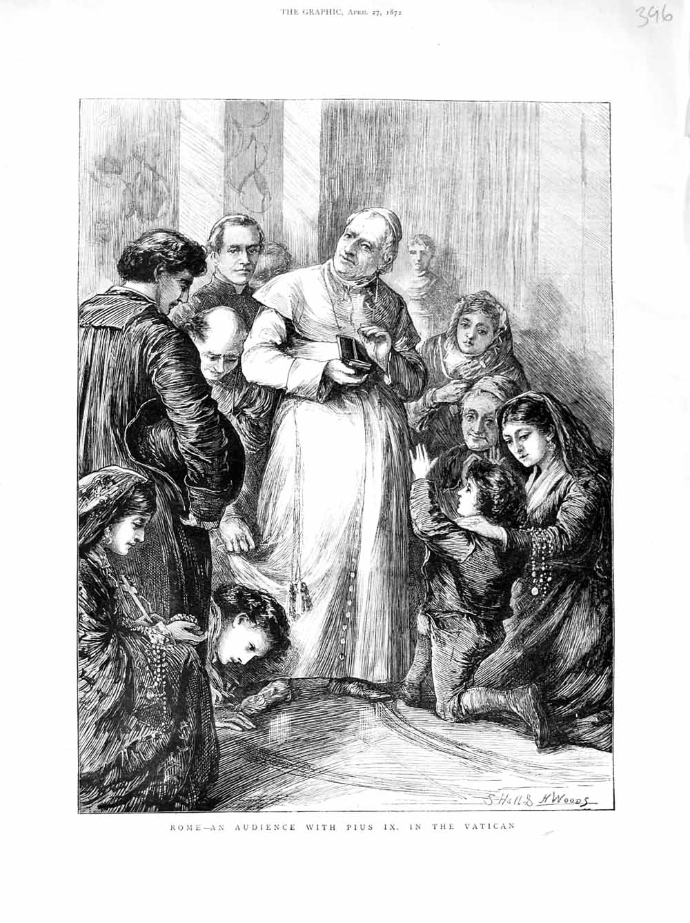 Print 1872 Rome Italy Audience Pius Ix Vatican Pope People  Old Original