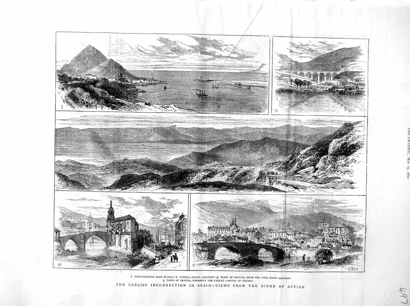 Print 1872 Carlist War Spain Tudela Bilbao Railway Orduna  Old Original