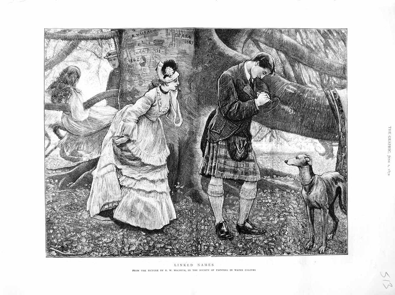 Print 1872 Scottish Man Kilt Lady Dog Romance Tree Fine Art  Old Original