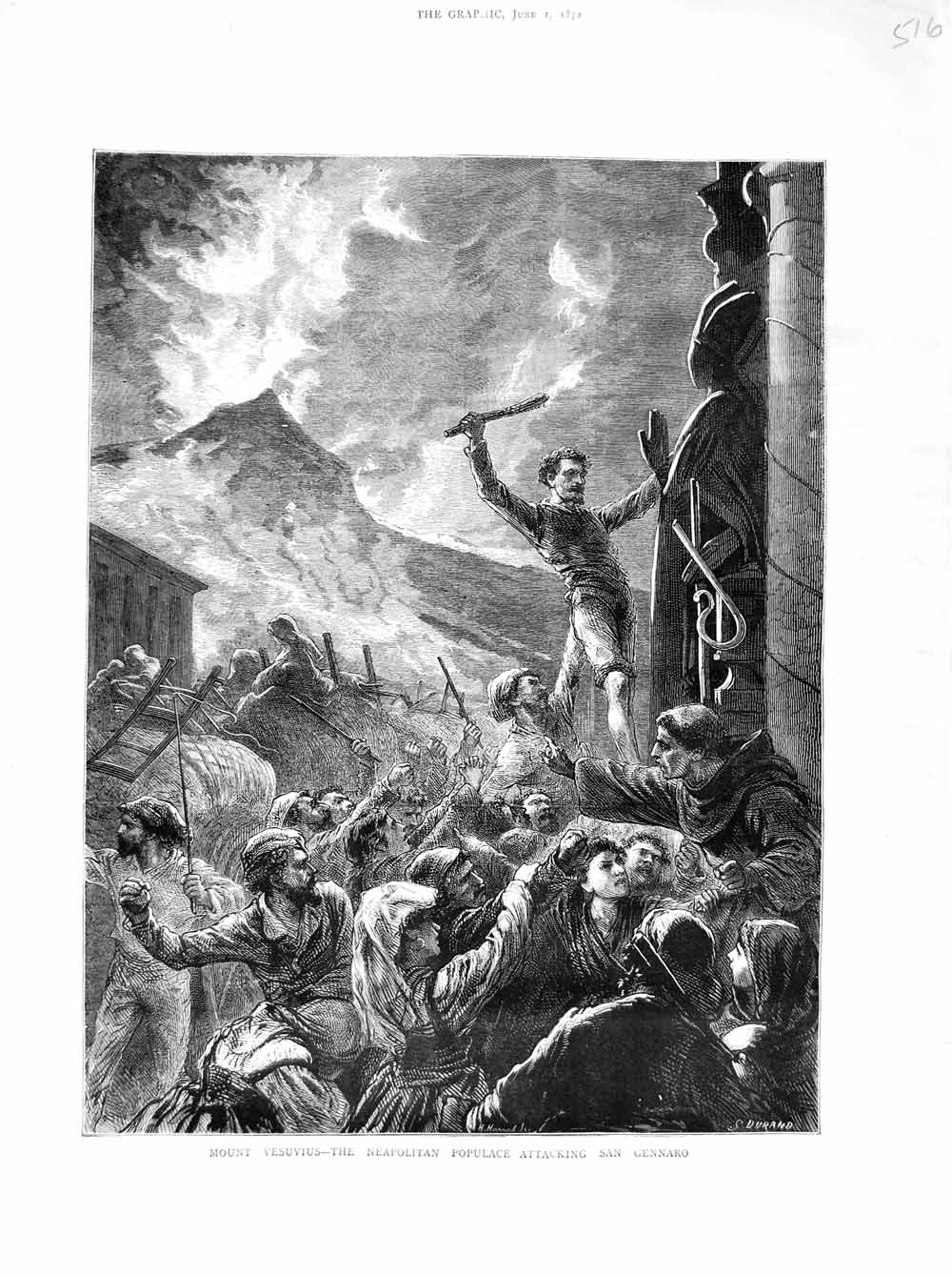 Print 1872 Mount Vesuvius Neapolitan San Gennaro Attacking Old Original