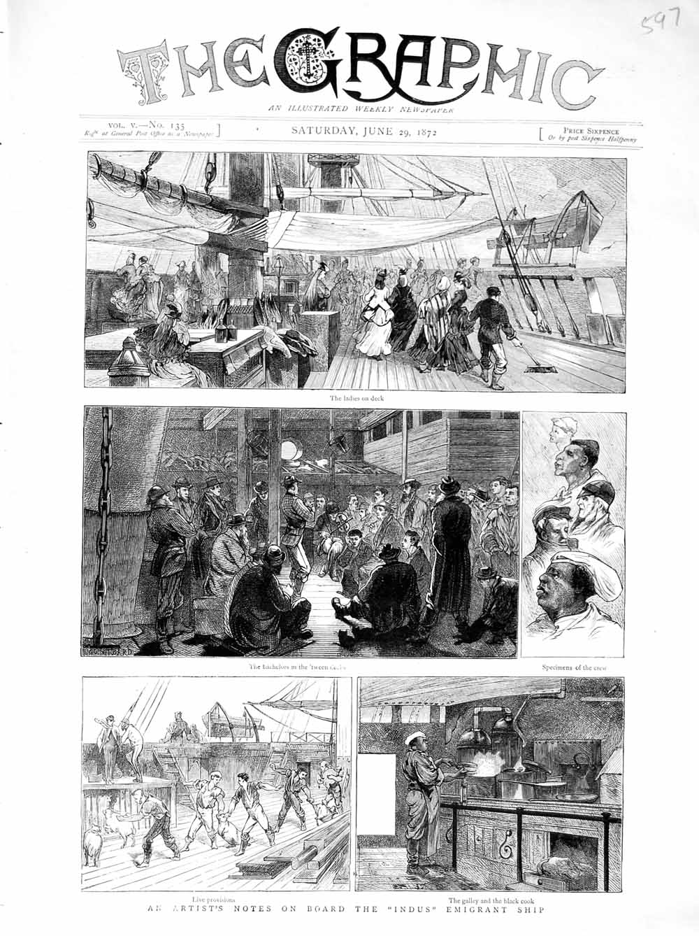 Print 1872 Indus Imigrant Ship Passengers Galley Black Cook  Old Original
