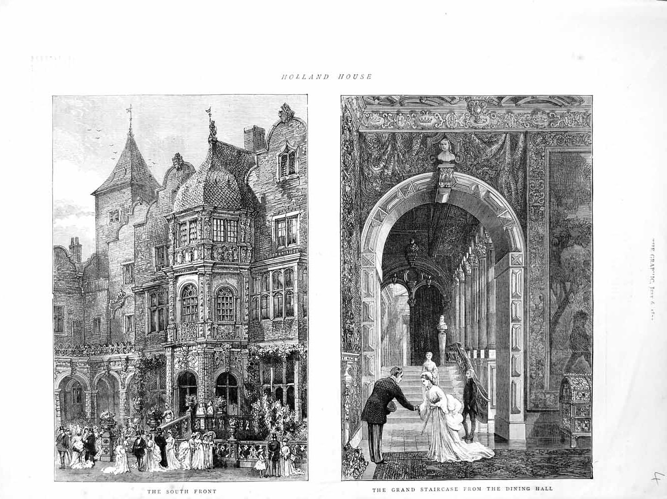 [Print 1872 Holland House Staircase Architecture Building 004M106 Old Original]