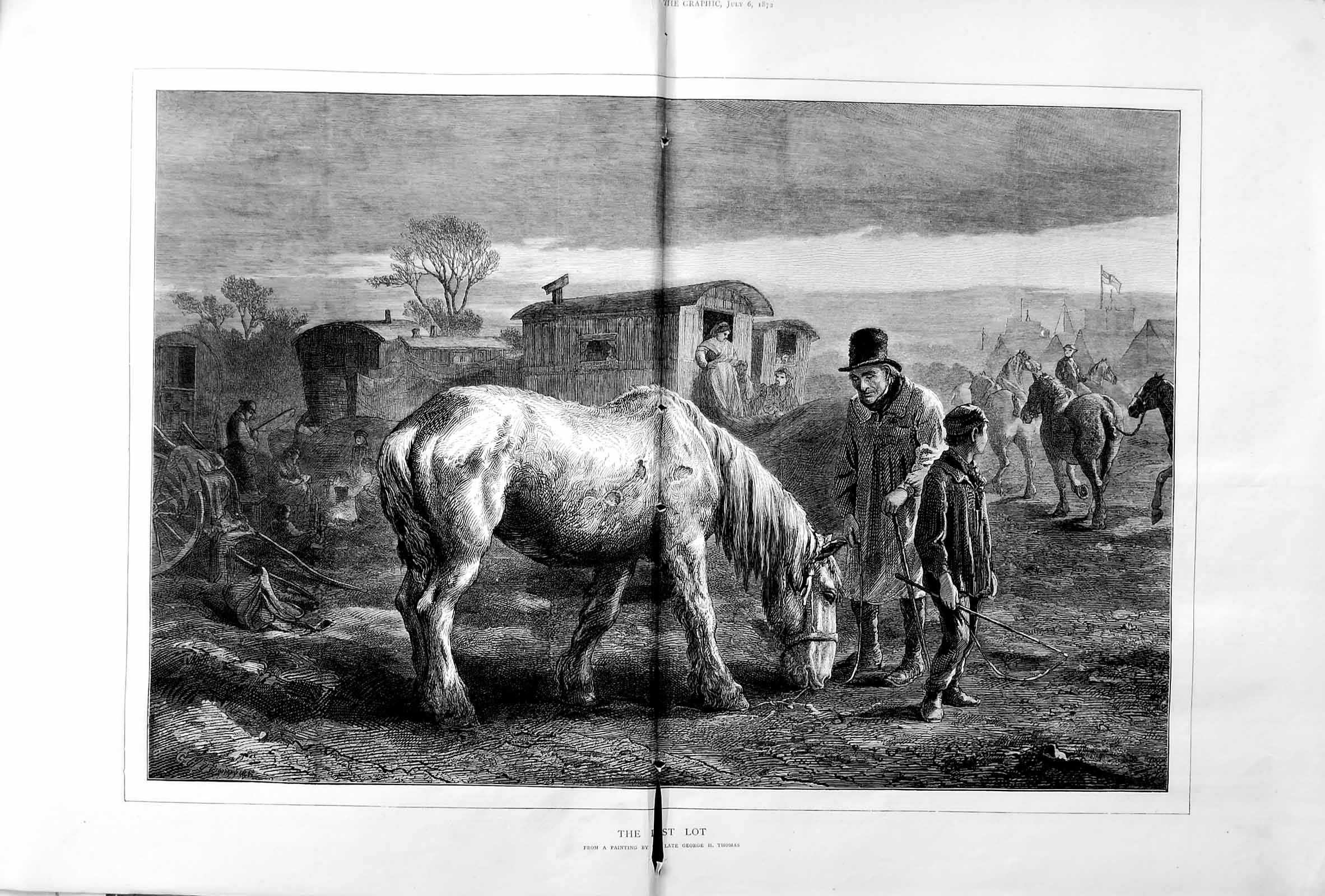 [Print 1872 Fine Art George Thomas Cart Horse Waggons Camp 009Tm106 Old Original]