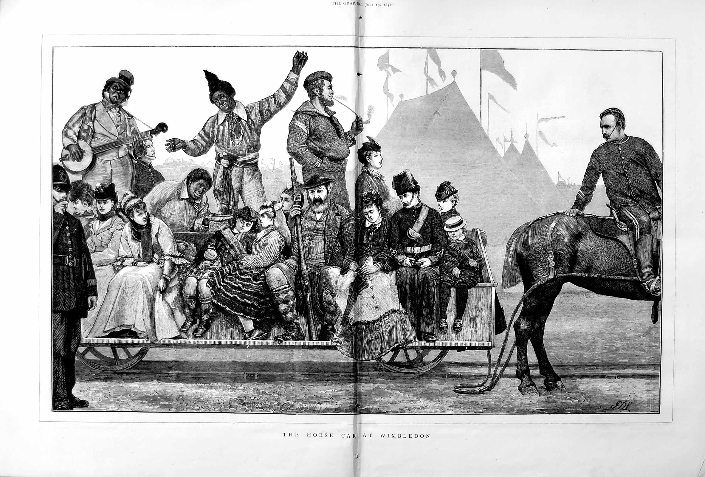 [Print 1872 Horse Car Wimbledon Rifle Shooting Sport Transport 029Tm106 Old Original]