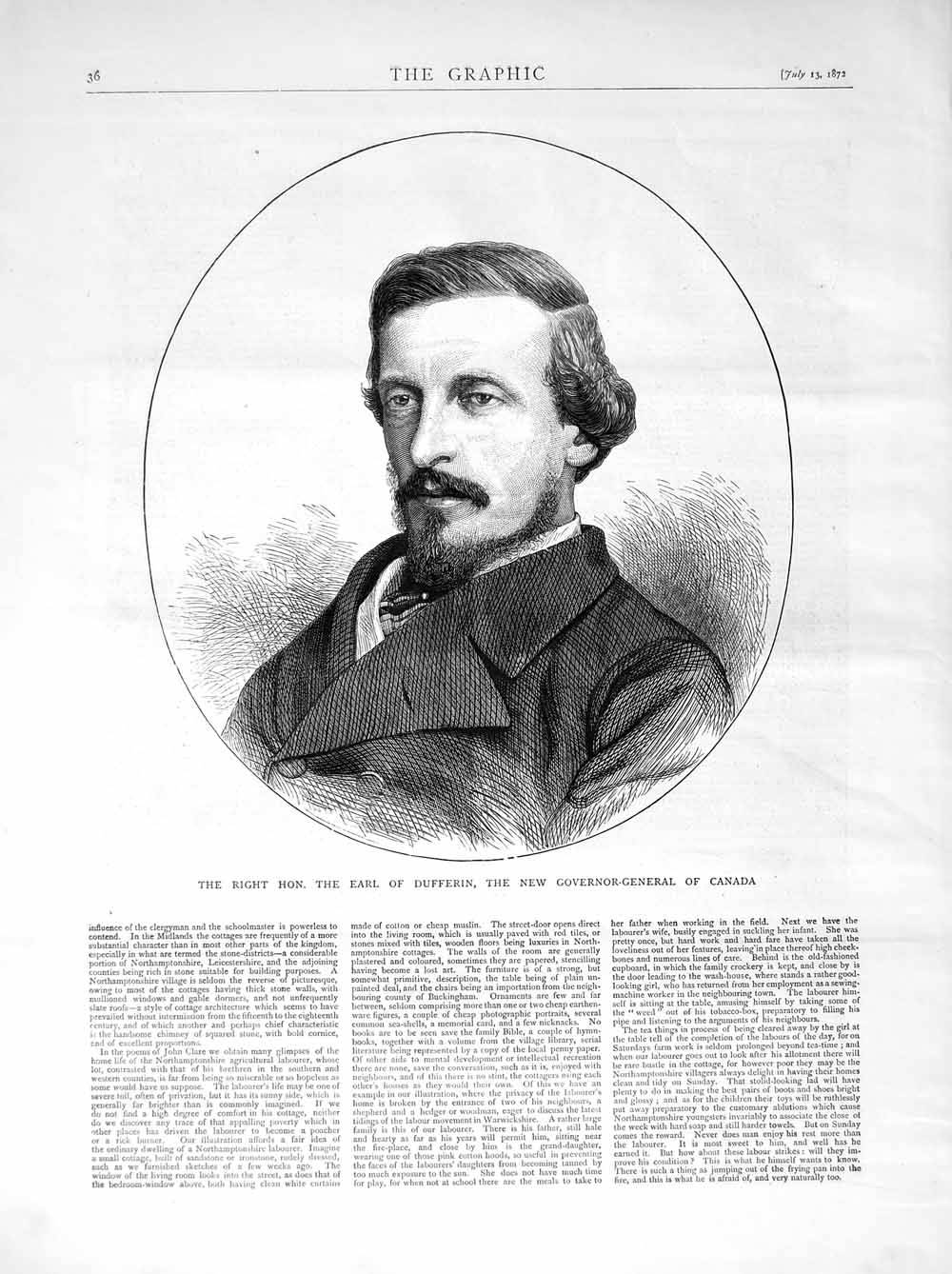 [Print 1872 Earl Dufferin New Governor-General Canada Man 036M106 Old Original]