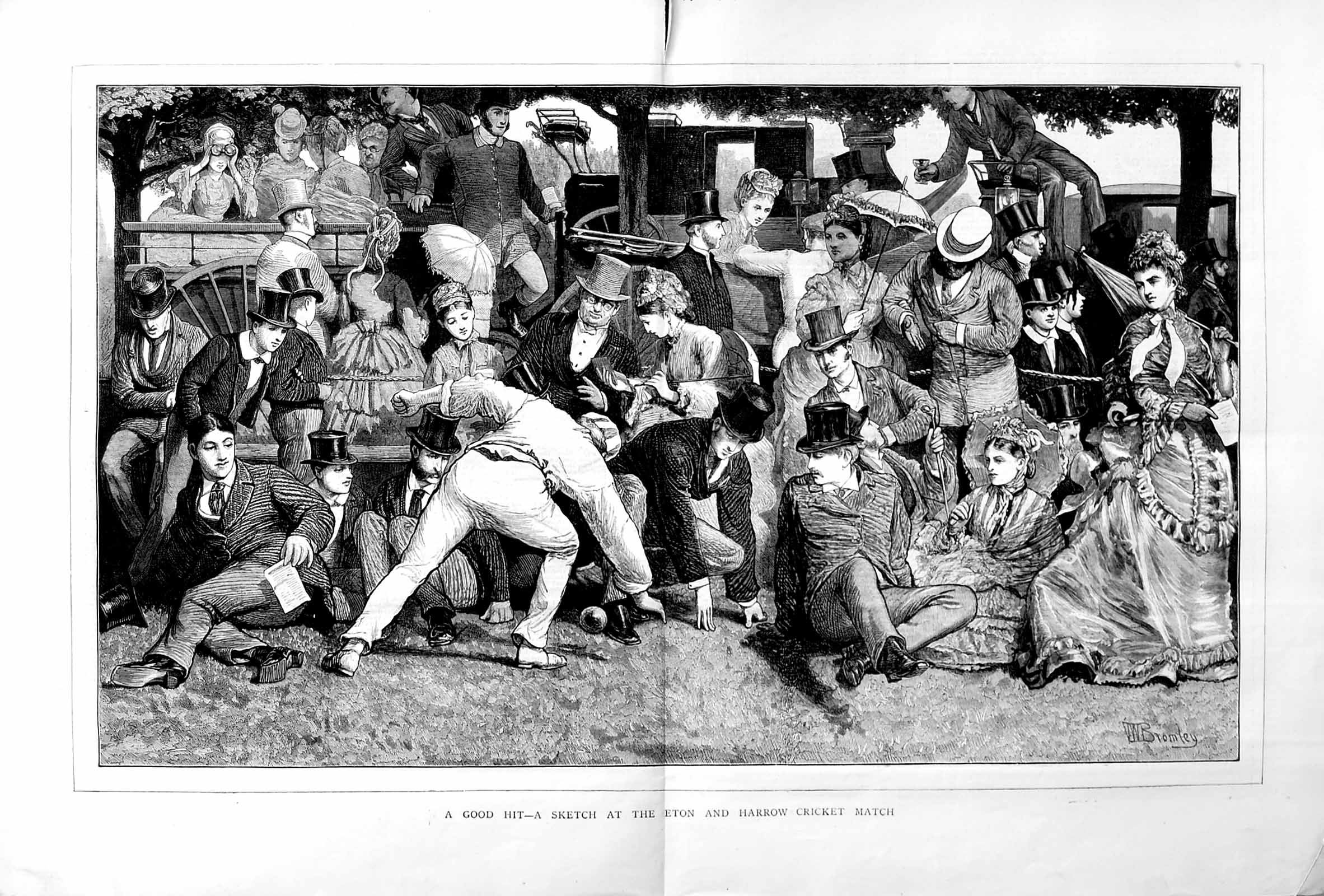 [Print 1872 Eton Harrow Cricket Match Sport School Boys 051Tm106 Old Original]